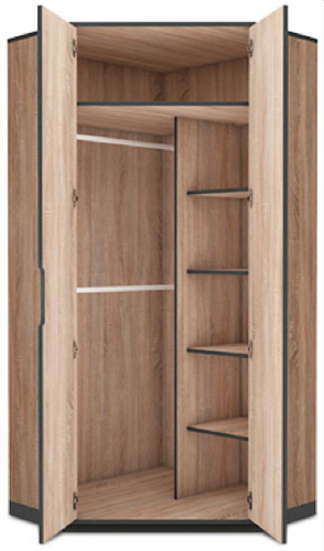 Vant Oak Effect 2 Door Corner Wardrobe - 2677